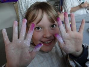rosa Fingerspitzen